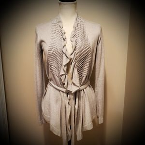 Kenneth Cole Ruffled Front Tie Cardigan